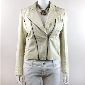 Wilsons Vintage Leather Motor Biker Ivory Jacket